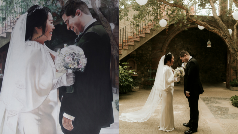 On the left, a bride is holding a bouquet and facing a groom, who's looking joyous; on the right, the same couple is facing each other in a Spanish courtyard.