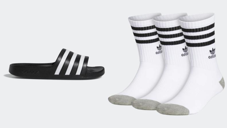 Adidas Adilette Aqua Slides, three pairs of Adidas crew socks.
