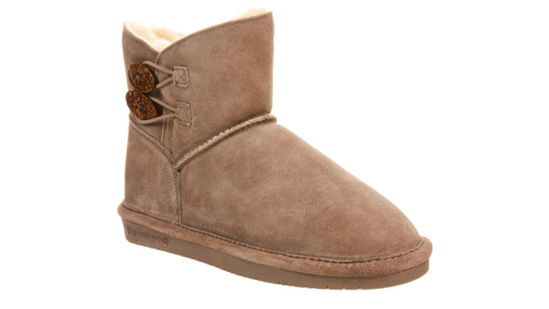 An image of a single camel-colored suede bootie.