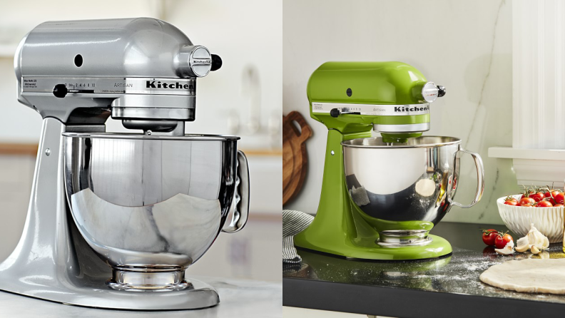 Left: A silver KitchenAid chrome stand mixer. On the right: A green KitchenAid stand mixer near a circle of pizza dough.