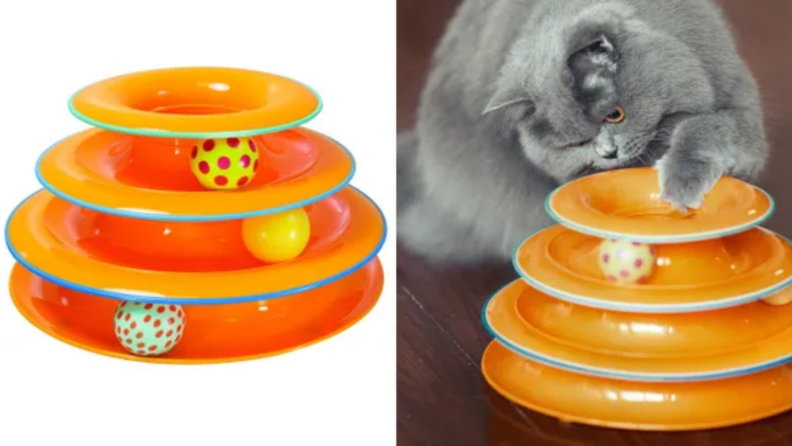 An image of the Cat Tracks toy in orange with several balls inside alongside an image of a cat with the toy.