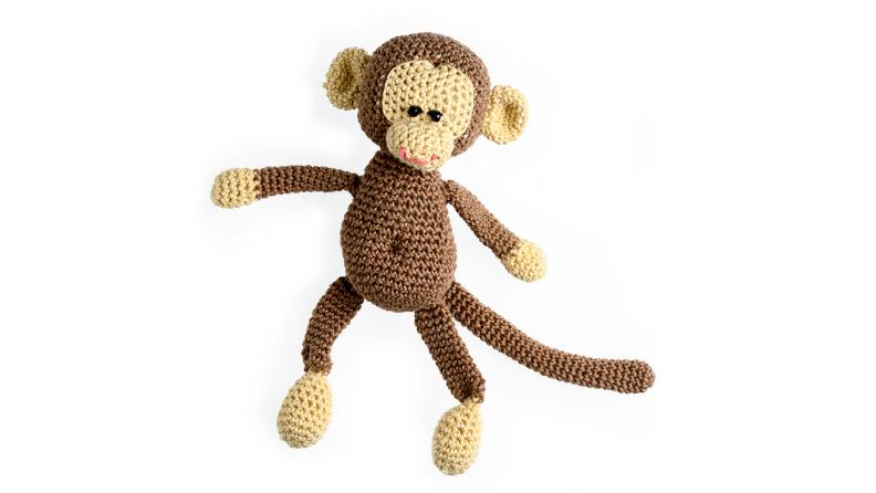 crocheted monkey toy