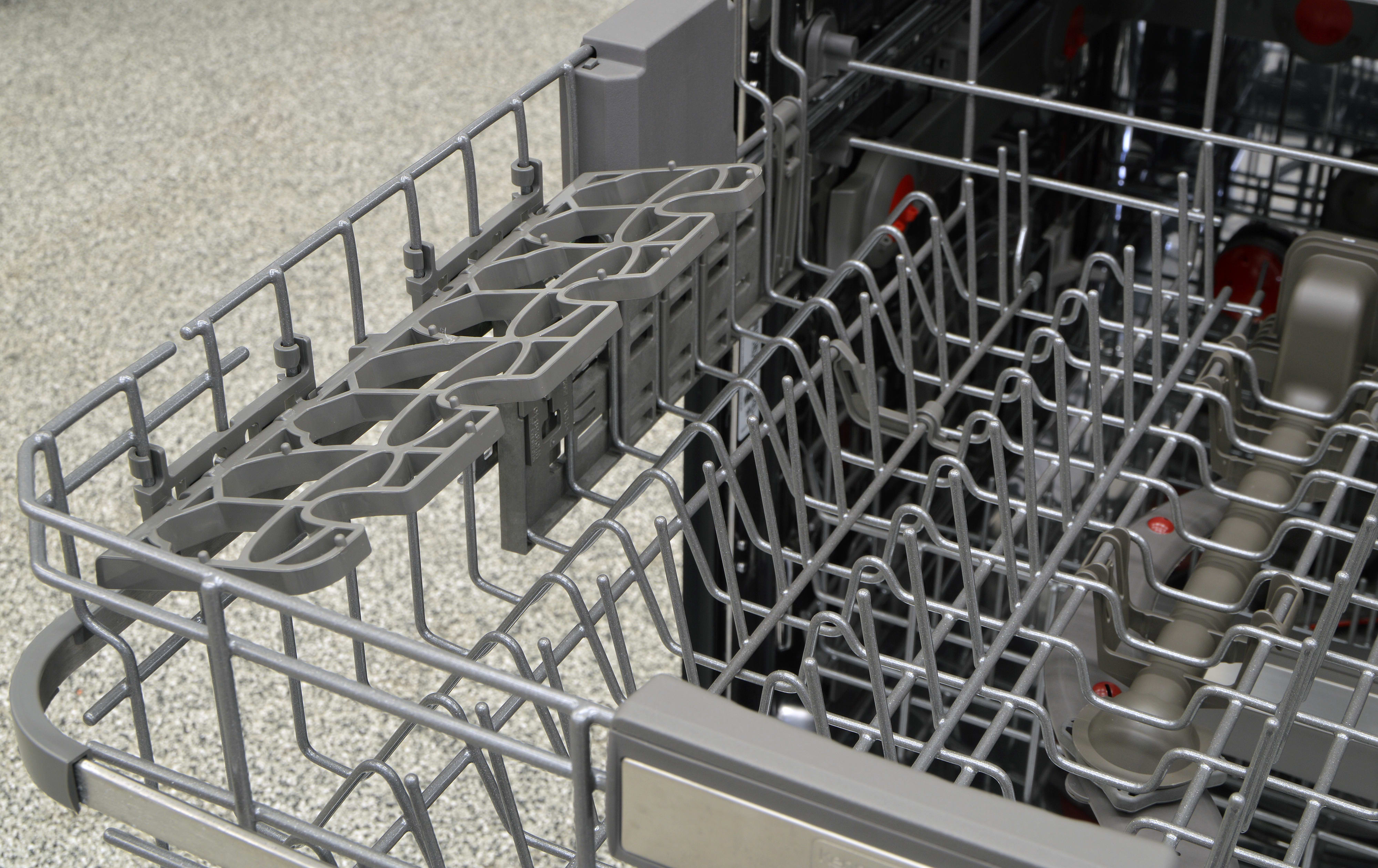 A simple fold-down shelf on the upper rack