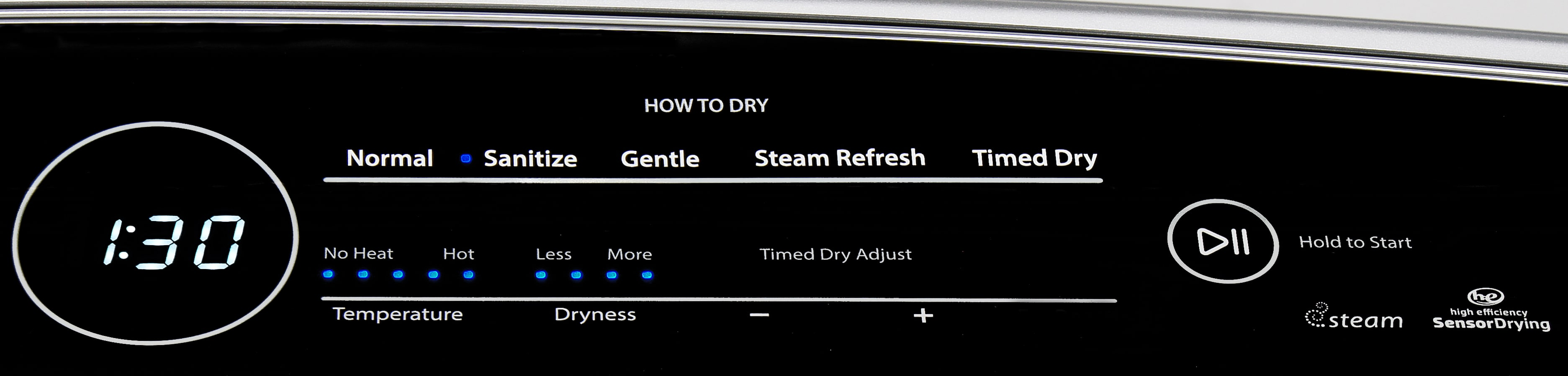 """The """"How To Dry"""" section of the Whirlpool Cabrio WED7300DW's controls tries to help you intuit what heat level you should be using to dry your clothes."""