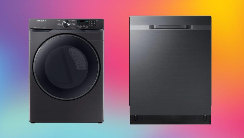 A matte black Samsung washing machine next to a matte black Samsung dishwasher, on a multicolored background.