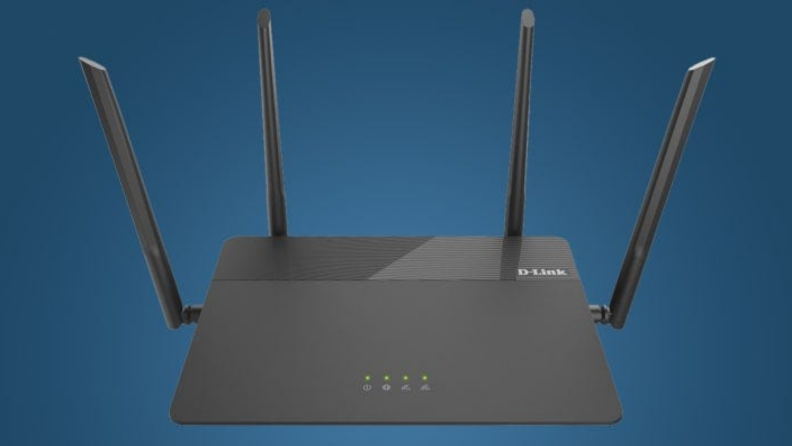 A D-Link wifi router against a blue background.