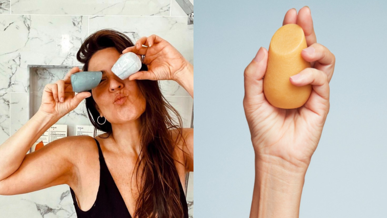 On the left: A person puckers their lips and holds up HiBar's solid shampoo and conditioner bars in front of their eyes. On the right: A hand holds up a solid bar from HiBar.