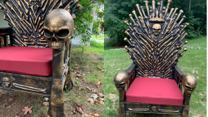 Three different angles of the Bone Throne chair outdoors.