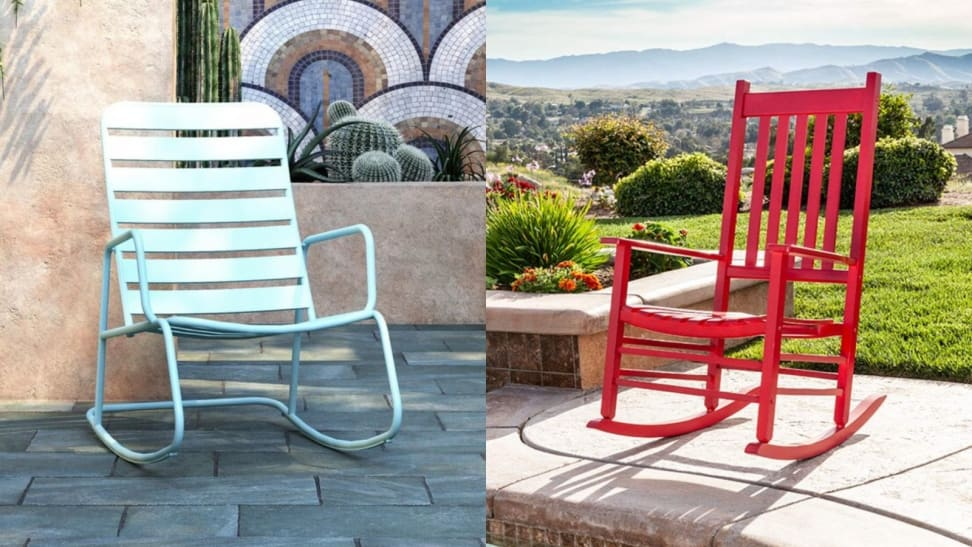 Left: Aqua metal rocking chair; Right: Red wooden rocking chair