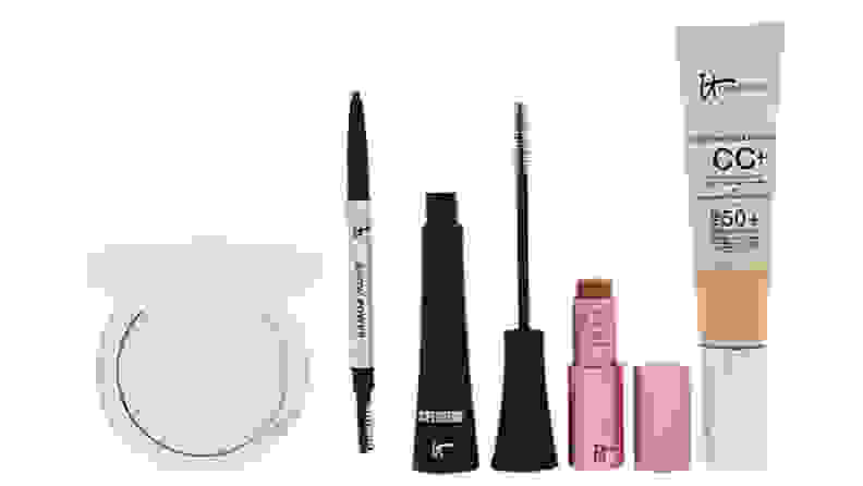 various beauty items on white background