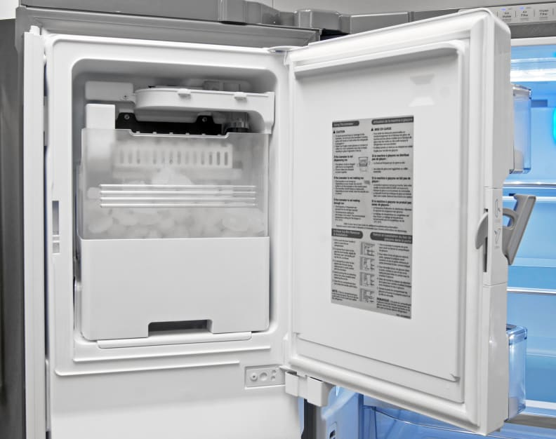 The Kenmore Elite 74025's door-mounted icemaker takes up minimal space while still offering plenty of cubes.