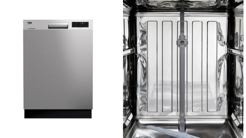 The front of a dishwasher, next to a close-up of the stainless steel interior