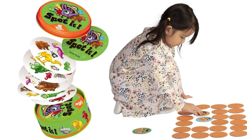 On left, children's circular memory card game. On right, child on floor playing with memory card game.