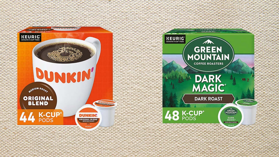 On left, box of Dunkin' K-cups in front of tan background. On right, box of Green Mountain Coffee Roasters K-cups in front of tan background.