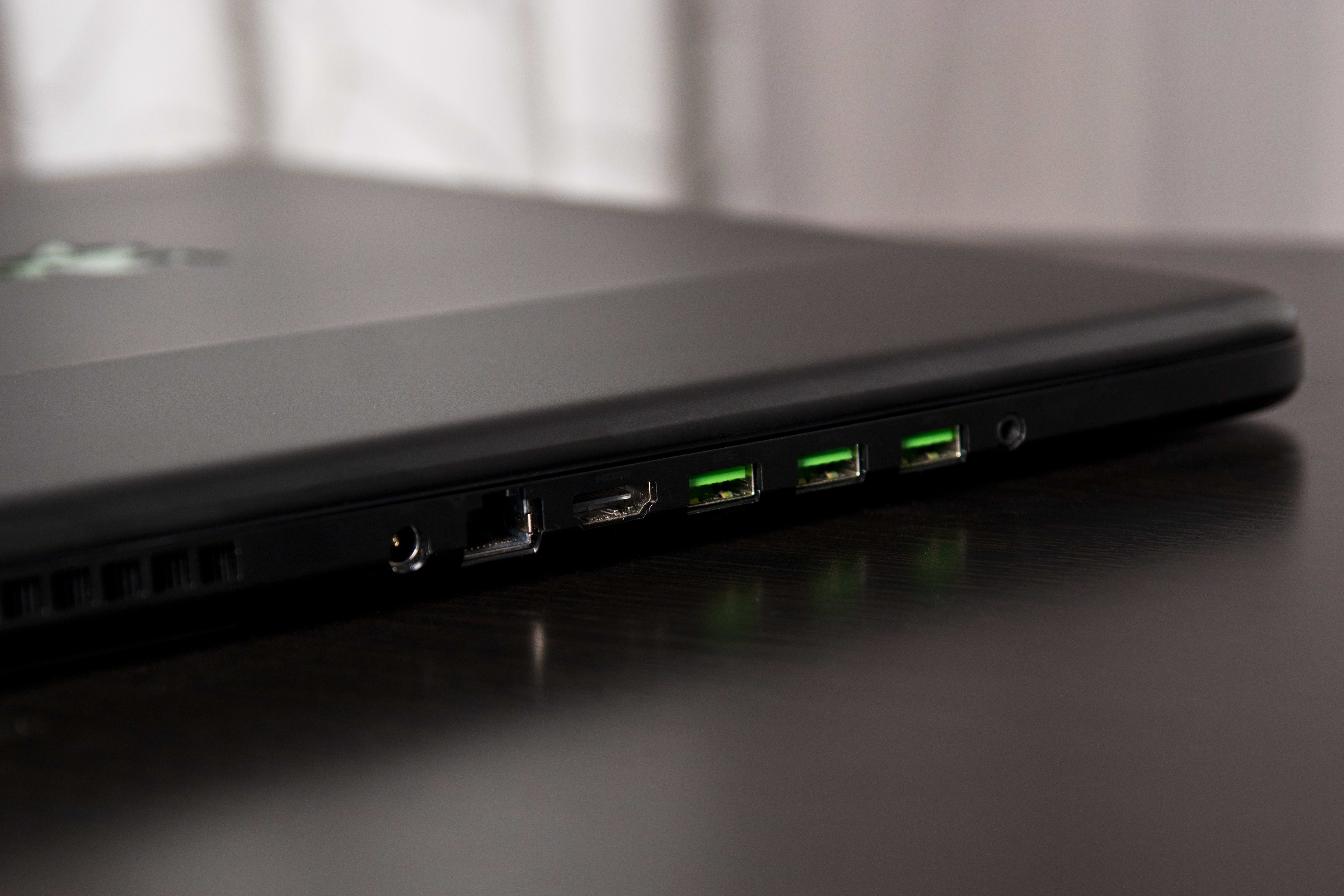 A photo of the Razer Blade Pro's ports.