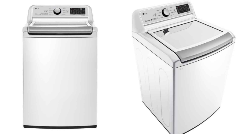 The LG WT7300CW top-load washing machine on a white background.