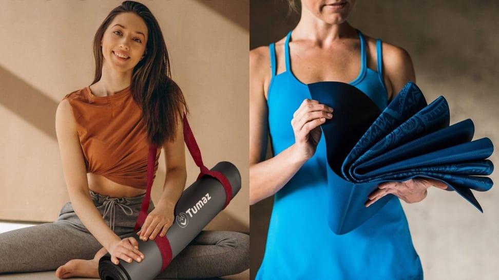 woman holding yoga mat and strap, woman holding folding mat