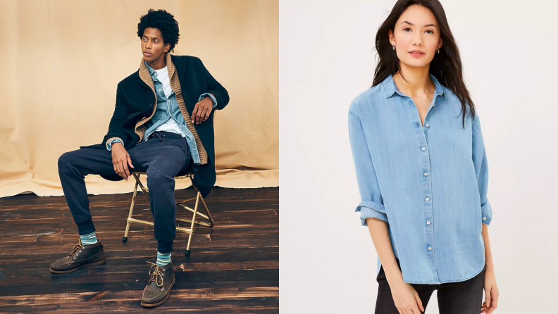 Man sitting in a chair wearing chambray shirt, woman standing in chambray shirt