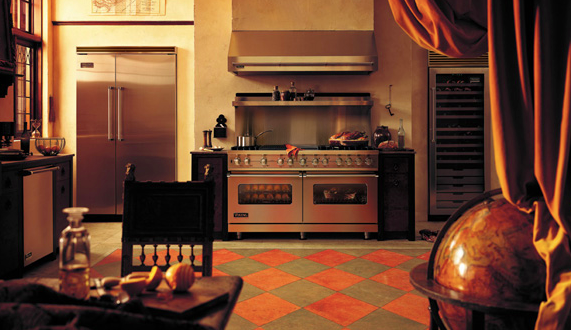 Viking Professional Series kitchen complete with wine refrigerator.