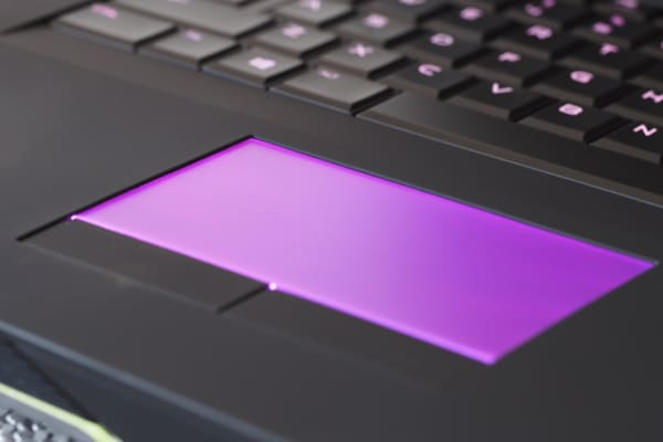 The touchpad lights up on the Alienware 17, and it looks glorious.