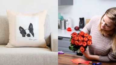 A photo of a French bulldog on a custom pillow next to a photo of a woman holding a bouquet of red flowers