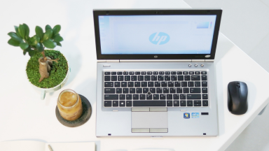 An image of an HP laptop next to some plants and a coffee