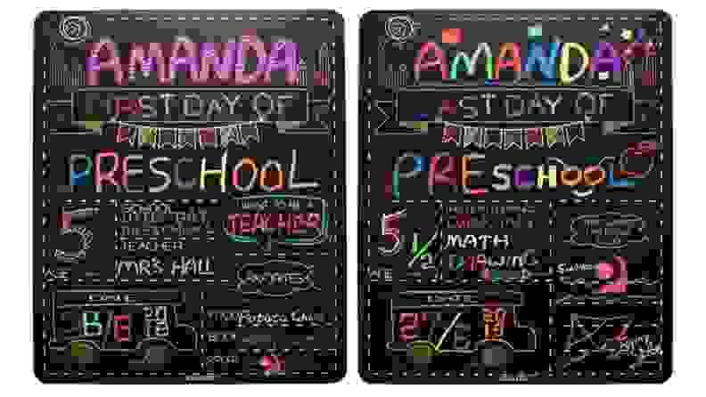 Two chalkboards with children's milestones written on them.