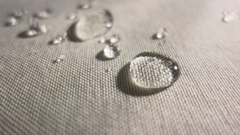 Drops of liquid on a water-resistant fabric