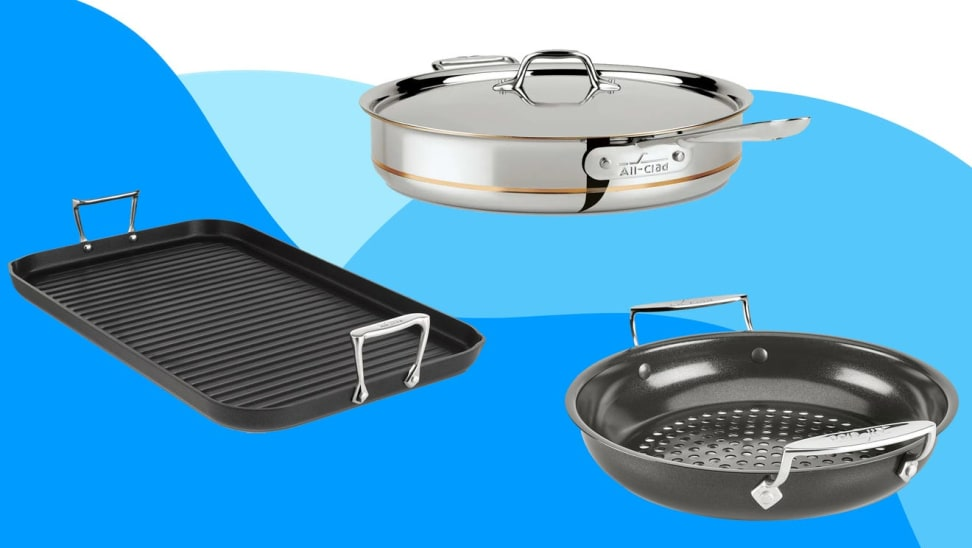 Pots and pans against blue and white background
