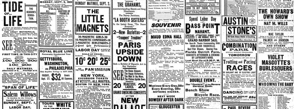 Old newspaper advertisements.