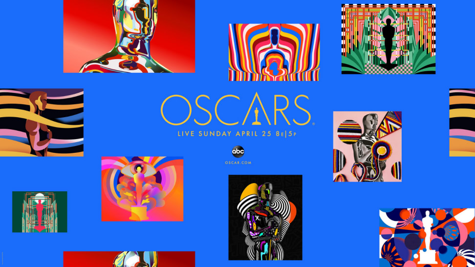 An image of the Oscars landing page in blue featuring bright works of art and the information about the show.
