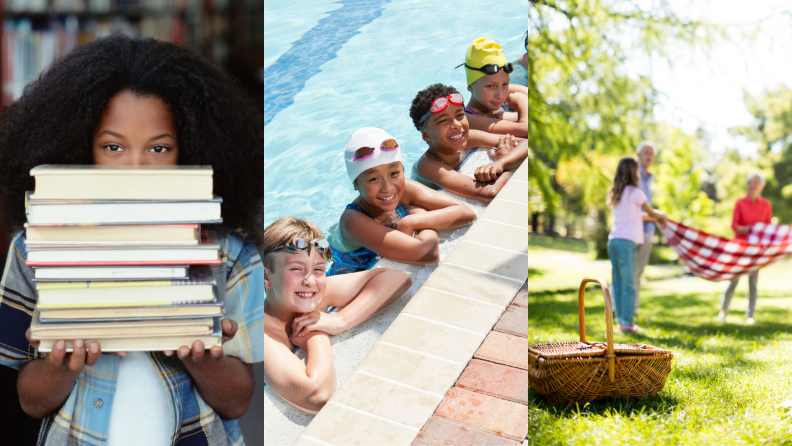 (Left) A child peeks behind a stack of books in a library. (Center) A group of 4 young swimmers hang onto the wall of a pool. (Right) A family places a blanket in a park for a picnic on a sunny day.