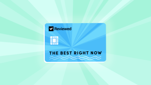 An illustrated credit card featuring Reviewed's logo and reading The Best Right Now is centered on a green background