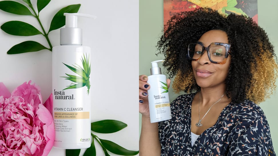 On the left: The InstaNatural Vitamin C Cleanser lays on two plant leaves with a peony flower next to it on top of a white background. On the left: The author holding the InstaNatural Vitamin C Cleanser and smiling at the camera.