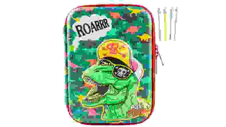 Green multi-colored dinosaur pencil case.