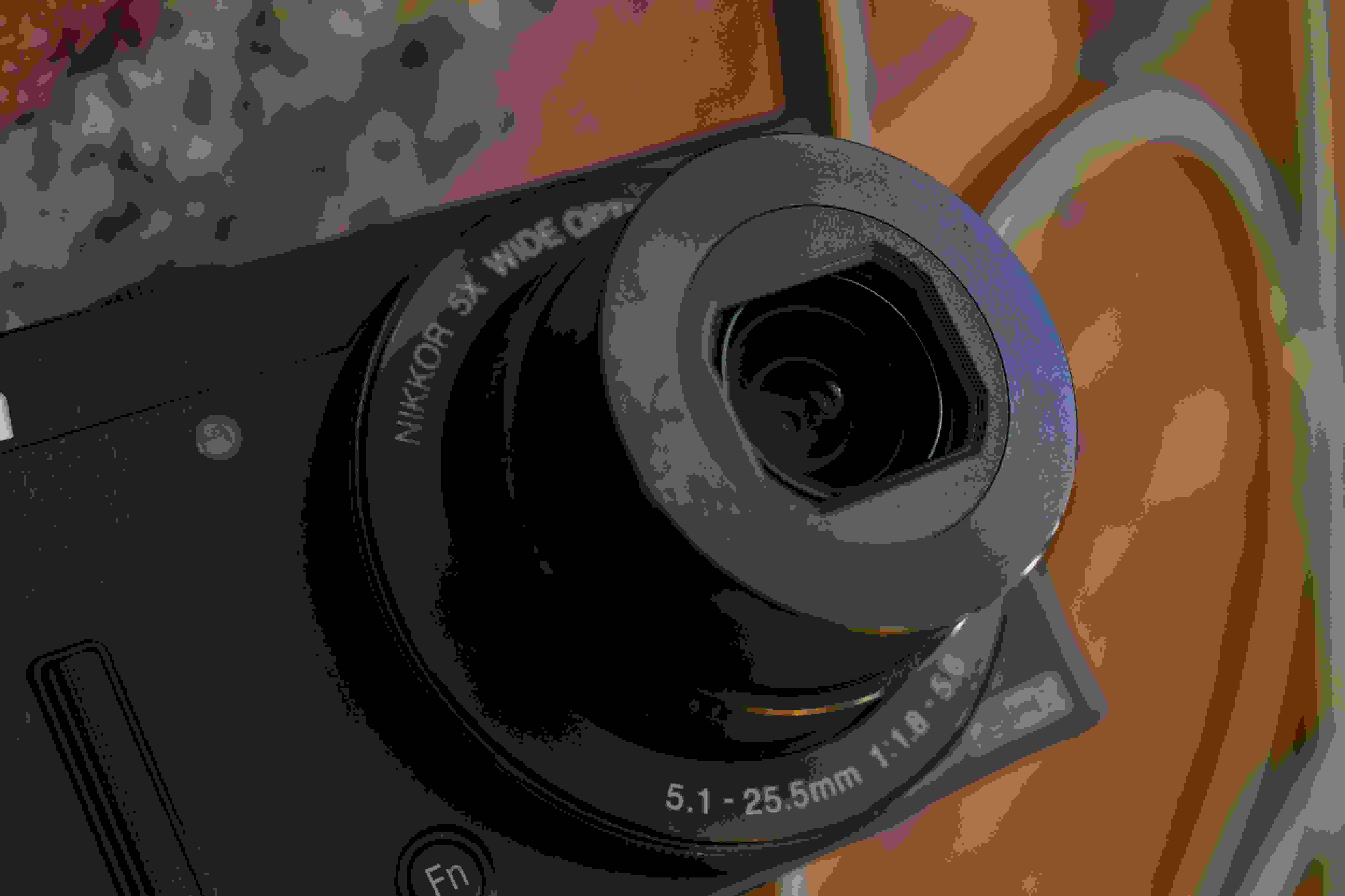 A photograph of the Nikon Coolpix P340's lens.