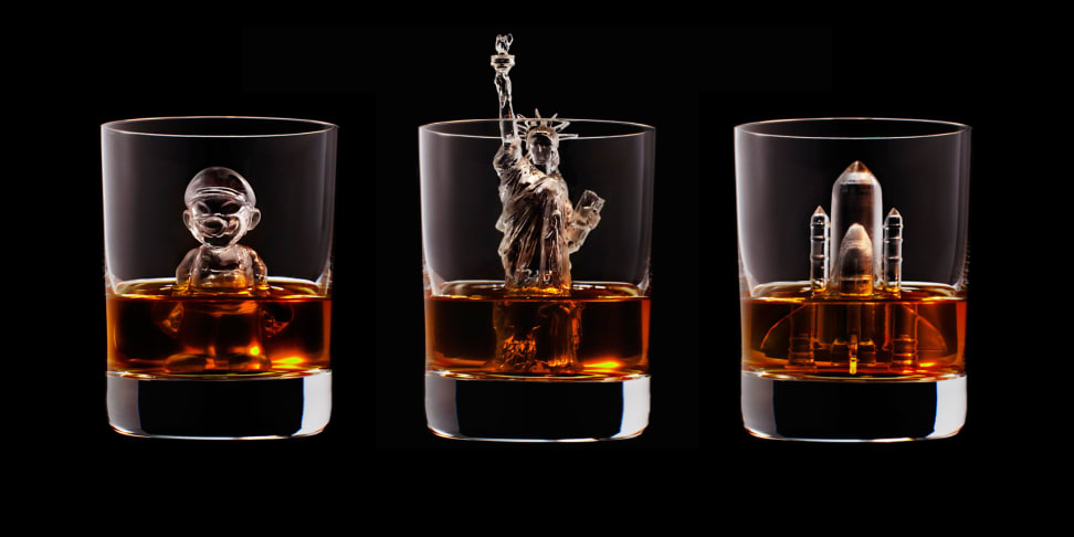 Statue of Liberty Ice Cube in glass of whiskey