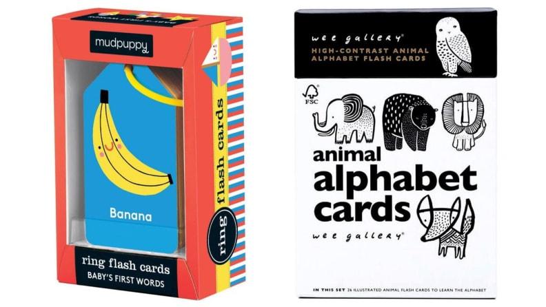 Multi-colored children's card game in box. Black and white children's alphabet cards.