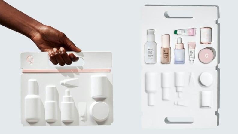 A white container containing mini skincare products.