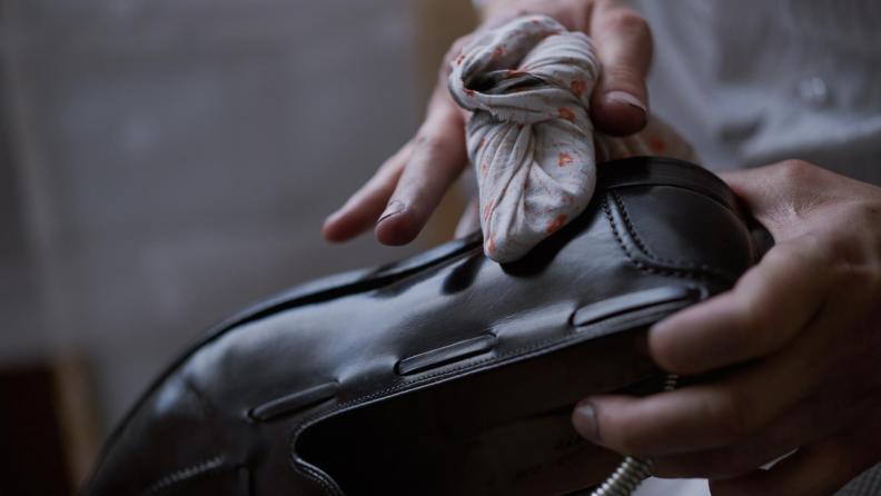 chamois cloth on leather shoe