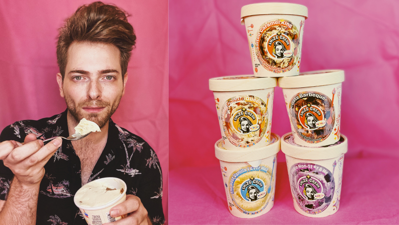 (1) A person holds a spoonful of ice cream to their mouth. (2) A stack of five ice cream containers.