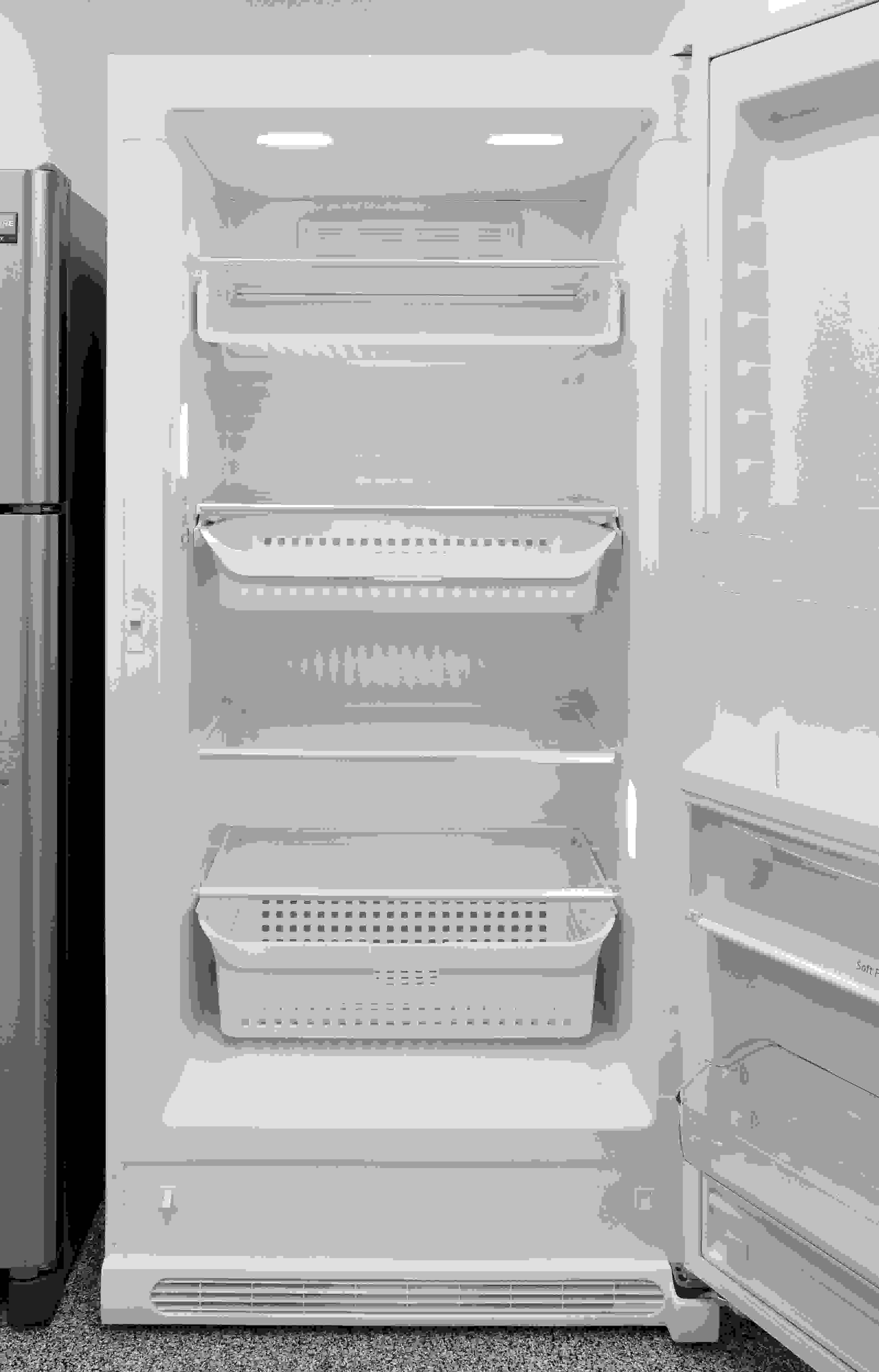 Lots of shelves and sliding drawers inside the Frigidaire FFFH21F6QW make it easy to keep track of your food.