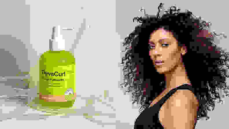 On the left: The green spray bottle from DevaCurl. On the right: A person with long, coily brown hair stares toward the camera.