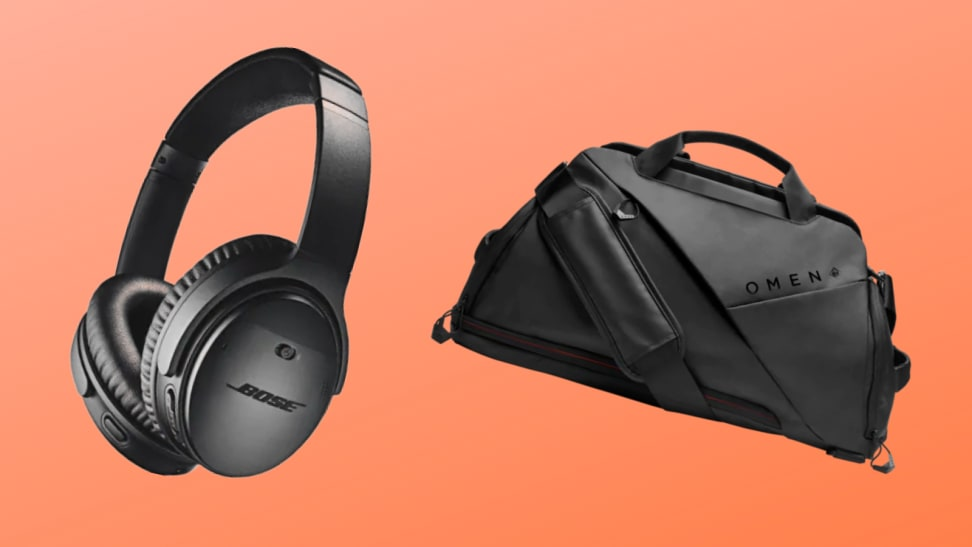 Bose headphones and Omen duffel bag on an orange background