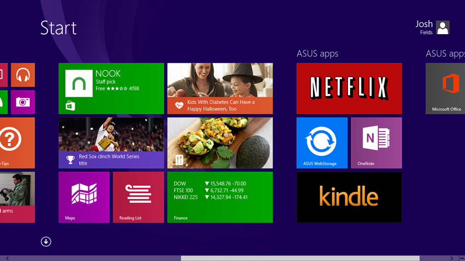 The Asus Transformer Book T100's Start screen