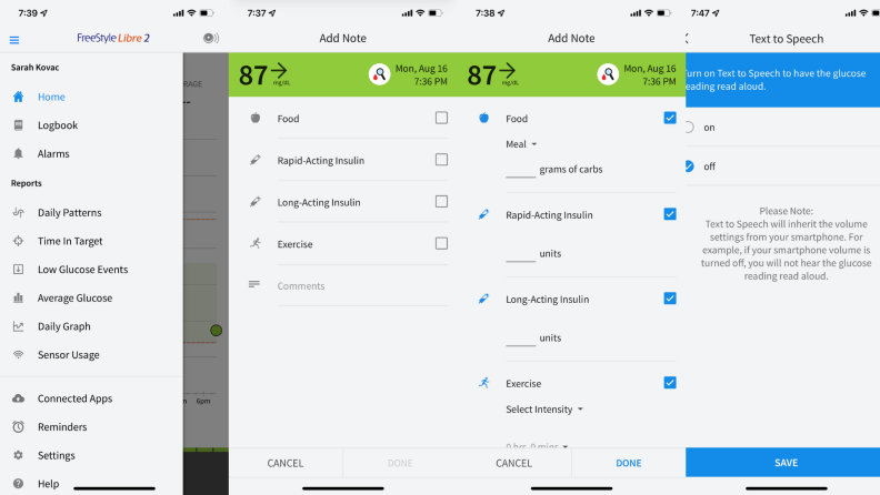 Screenshots of in-app use of the Freestyle's Libre 2 app.