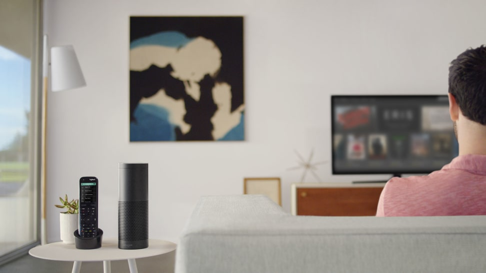 A home theater with an Amazon Echo and Logitech Harmony remote
