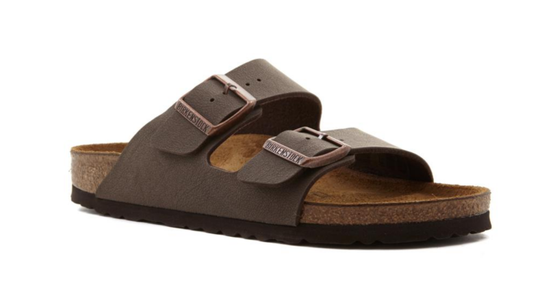 An image of a single Birkenstock two-strap sandal in muted brown.