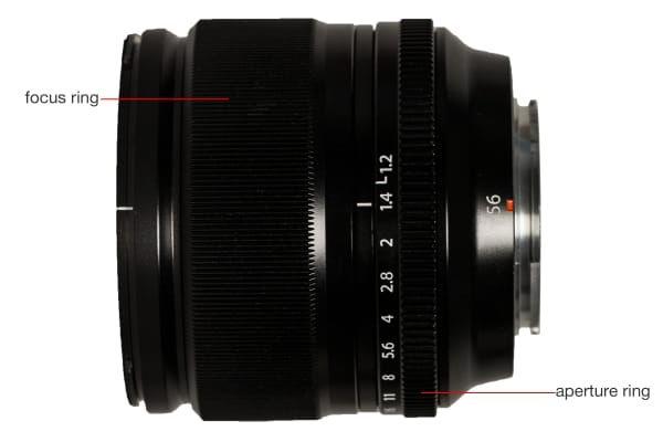 A side view of the Fujinon XF 56mm f/1.2 R.