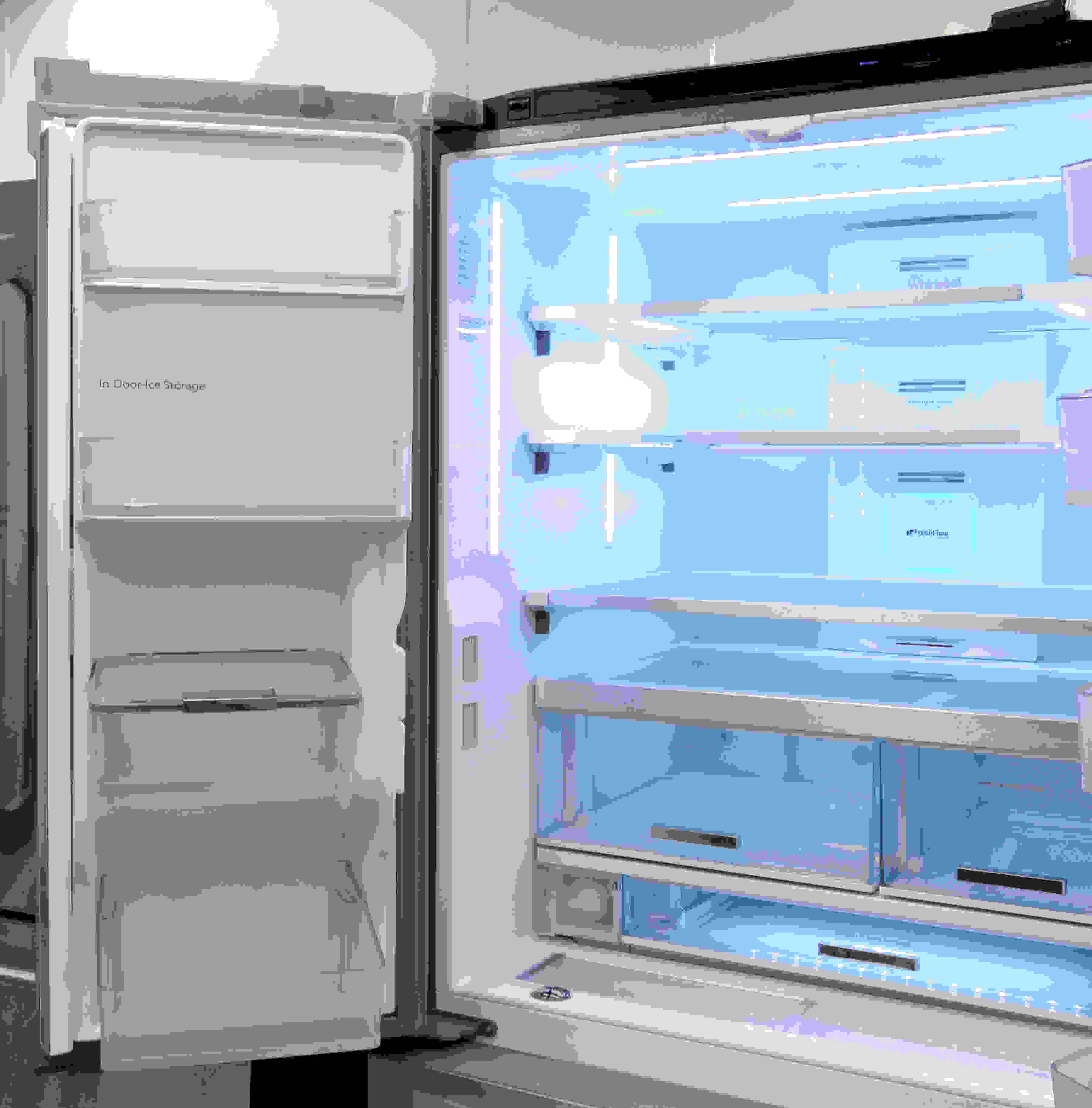 The slim ice maker is found on the left door, which features additional shelves.
